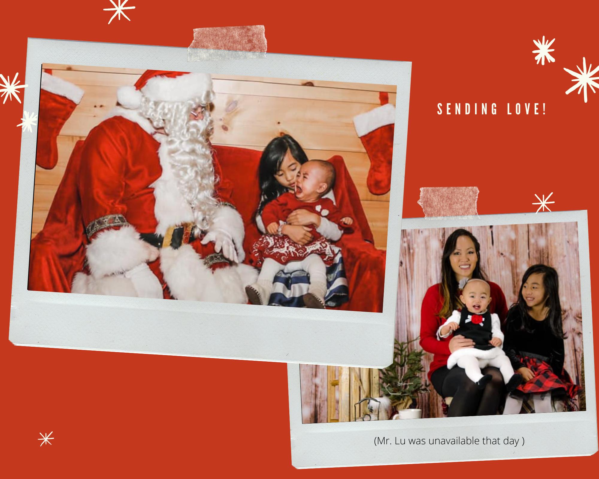 Santa photo with crying baby. Year 2020.